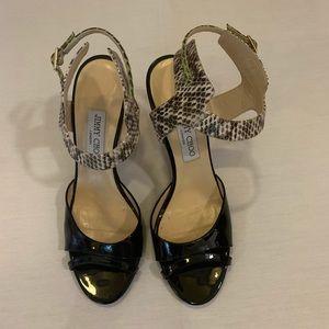 Jimmy Choo black and snakeskin heels